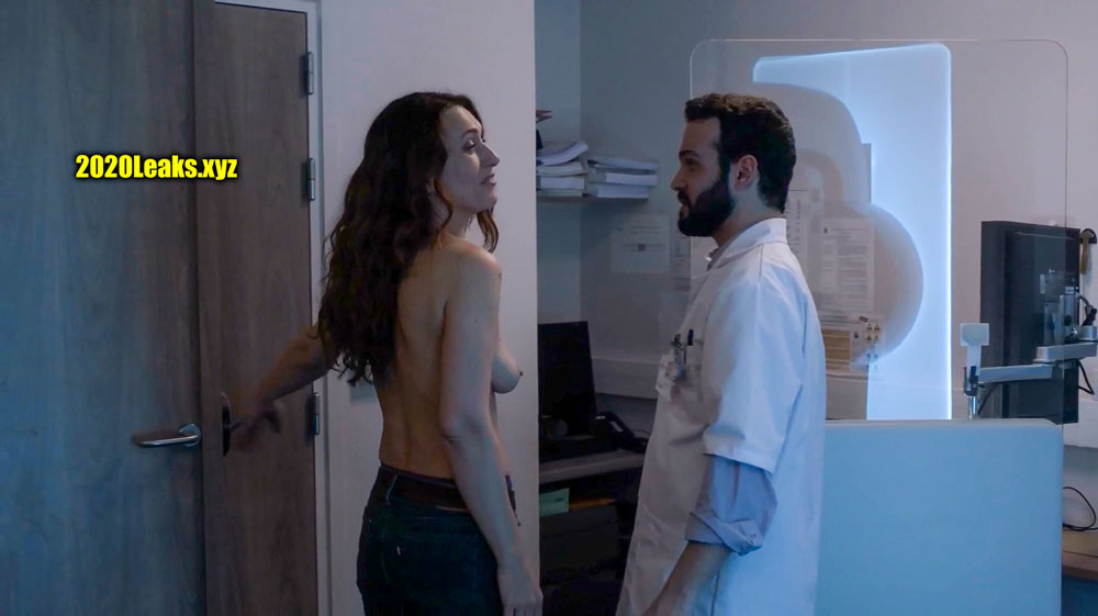 47 year old actress Natacha Lindinger topless hospital photo without bra